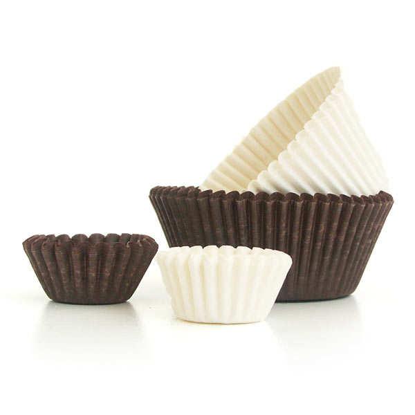 120 caissettes blanc/brun pour cupcakes