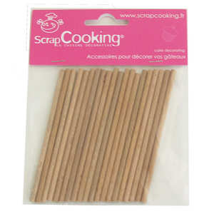 ScrapCooking ® - 20 bâtonnets en bois pour sucettes