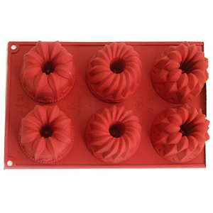 Silikomart - Six individual floral cake moulds
