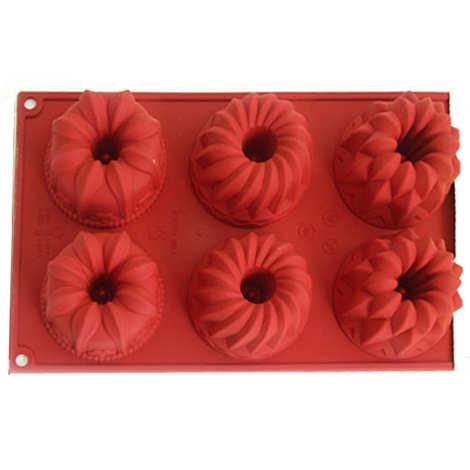 Silikomart - Six individual floral cake moulds