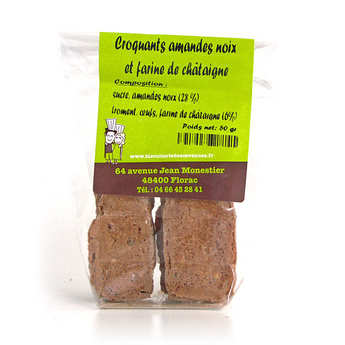 L'atelier du miel et de la châtaigne - Crunchy biscuits with almonds, walnuts and chestnut flour