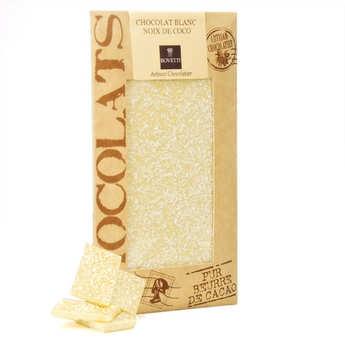 Bovetti chocolats - Tablette chocolat blanc noix de coco