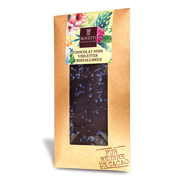 Dark chocolate with violet flowers