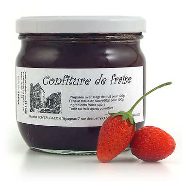 Strawberry jam in a jar