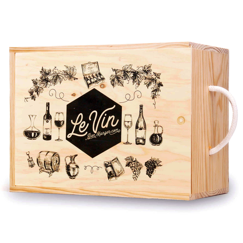 Wooden box for 6 bottles of wine
