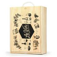 Caisse bois à glissière décorée Vin - 3 bouteilles