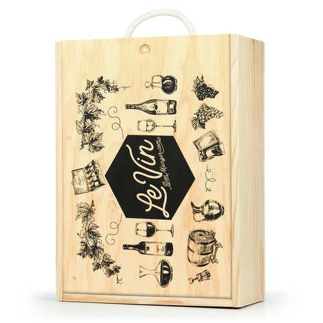 Les Ateliers de la Colagne - Caisse bois à glissière décorée Vin - 3 bouteilles