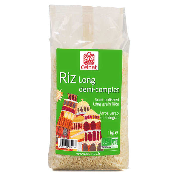 Organic semi-polished long grain rice