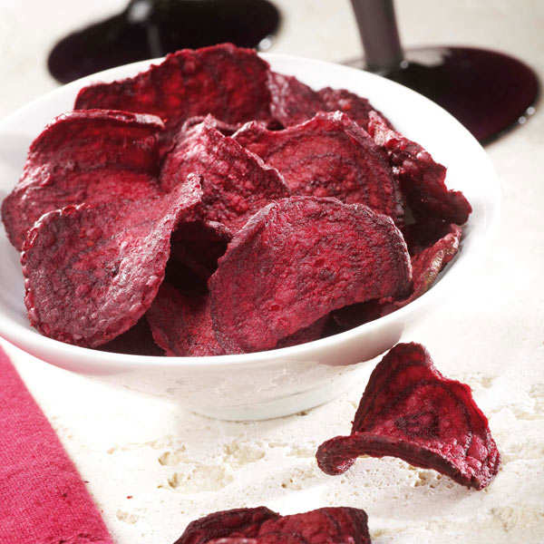 Unsalted organic beetroot chips