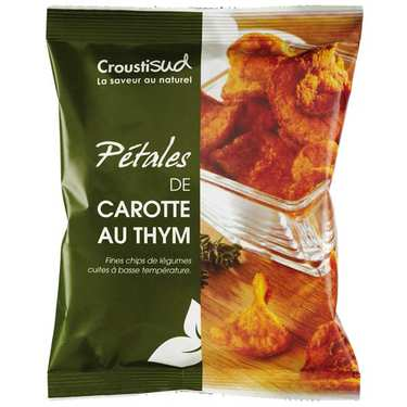 Chips de carotte au thym bio sans sel