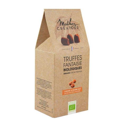 Chocolat Mathez - Truffe fantaisie bio au chocolat noir et aux éclats de caramel au beurre salé