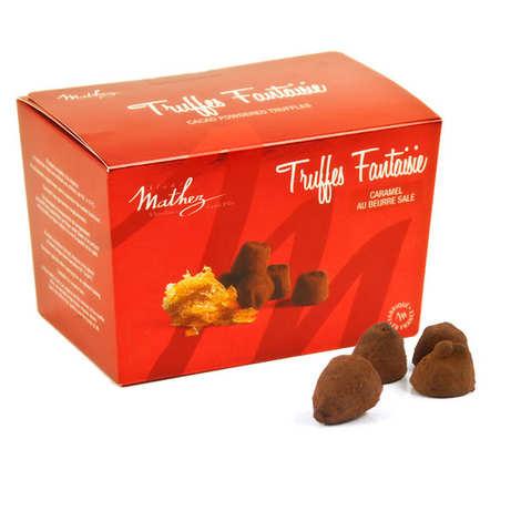 Chocolat Mathez - Truffe fantaisie aux éclats de caramel au beurre salé avec arôme naturel en ballotin