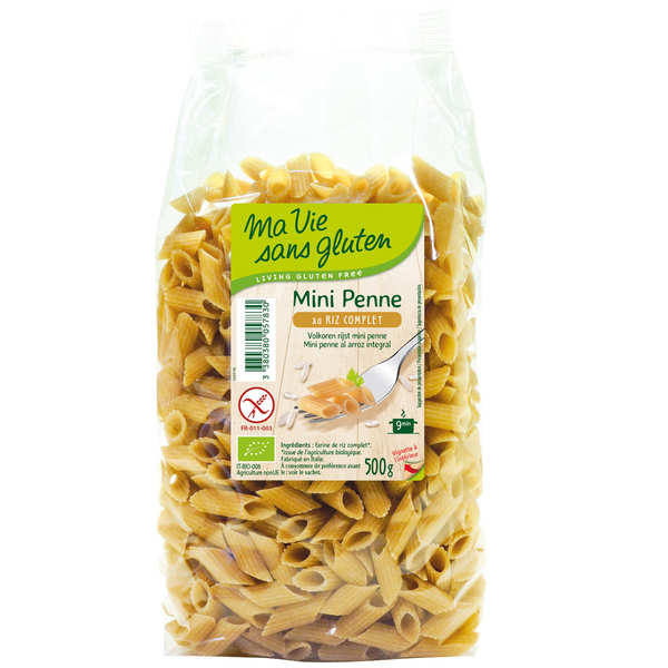 Mini penne pasta made with rice flour - gluten free