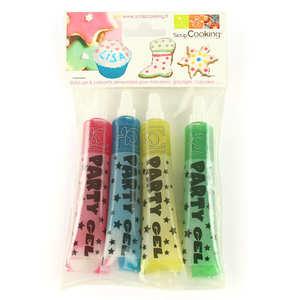 ScrapCooking ® - 4 stylos de gel alimentaire pailleté - couleurs assorties