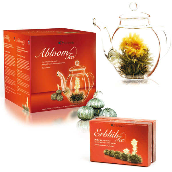 Teapot and 6 Abloom tea flowers gift set