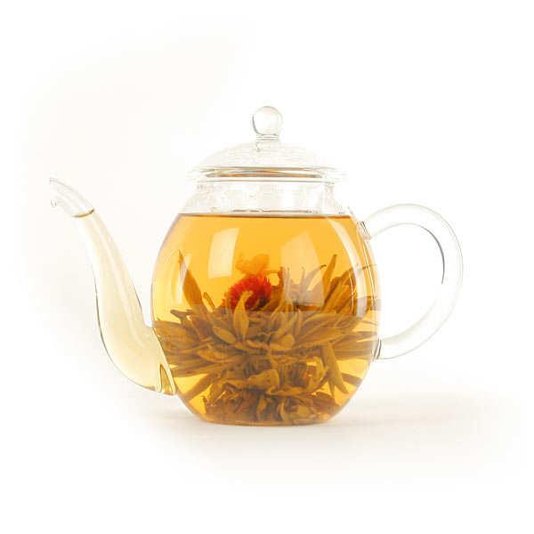 Coffret théière et 6 fleurs de thé blanc