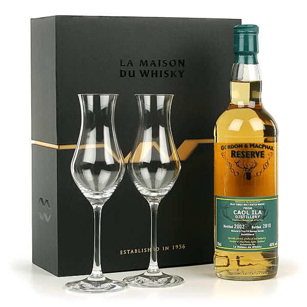 Coffret Whisky Coal Ila 2002 - 2 verres No Ice - la bouteille de 70cl et les 2 verres No Ice dans le