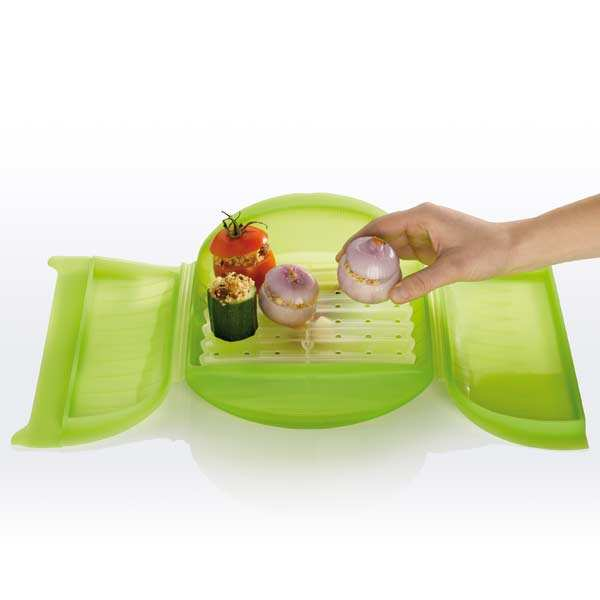 Silicone steam cooker with filter for 3 or 4 people