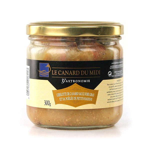 Gibelotte de canard sauce foie gras et sa poêlée de petits raisins