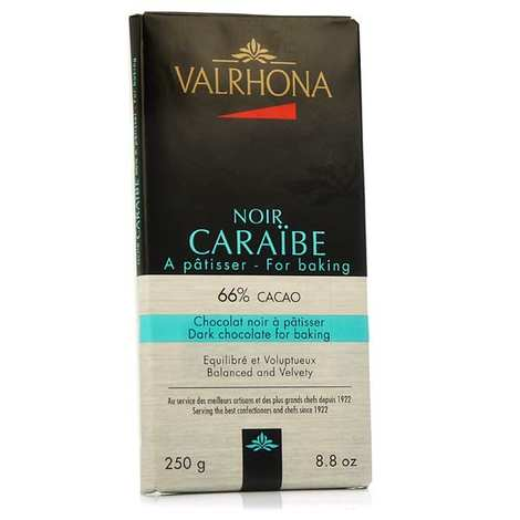 Valrhona - Bar of dark baking chocolate 66% cocoa - Caraibe Valrhona