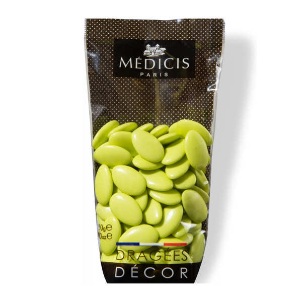 Dragées décor au chocolat noir 70% vert anis