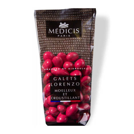 Dragées Médicis - Galets Lorenzo rouge cerise - Dragées amande gianduja