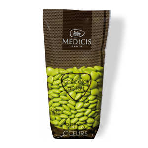 Dragées Médicis - Les dragées petits coeurs vert anis au chocolat au lait