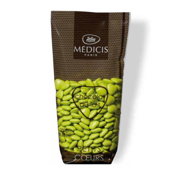 Les dragées petits coeurs vert anis au chocolat au lait