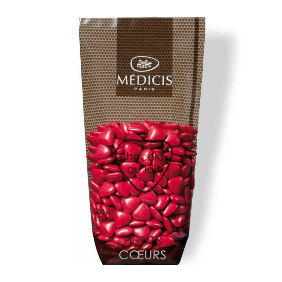Magenta Heart-Shaped Milk Chocolate Dragées