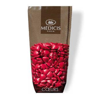 Dragées Médicis - Dragées petits coeurs framboise au chocolat au lait