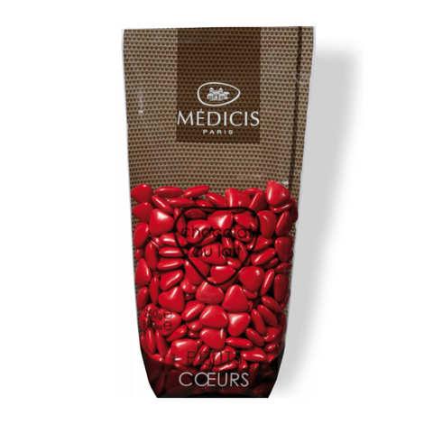 Dragées Médicis - Christmas-Red Heart-Shaped Milk Chocolate Dragées