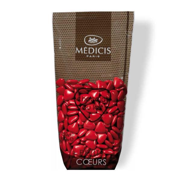 Dragées petits coeurs rouges au chocolat au lait