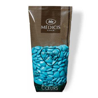 Dragées Médicis - Turquoise Heart-Shaped Milk Chocolate Dragées