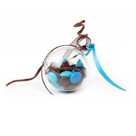 Dragées Médicis - Les dragées petits coeurs turquoises au chocolat au lait