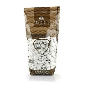 Dragées Médicis - Les dragées petits coeurs blanches au chocolat au lait