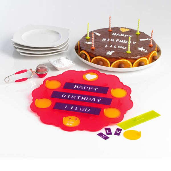 Pochoir à gâteau personnalisable message sur 3 lignes