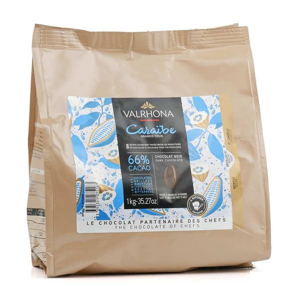 """Chocolat de couverture Valrhona fèves """"grand cru caraïbe"""" noir 66%"""