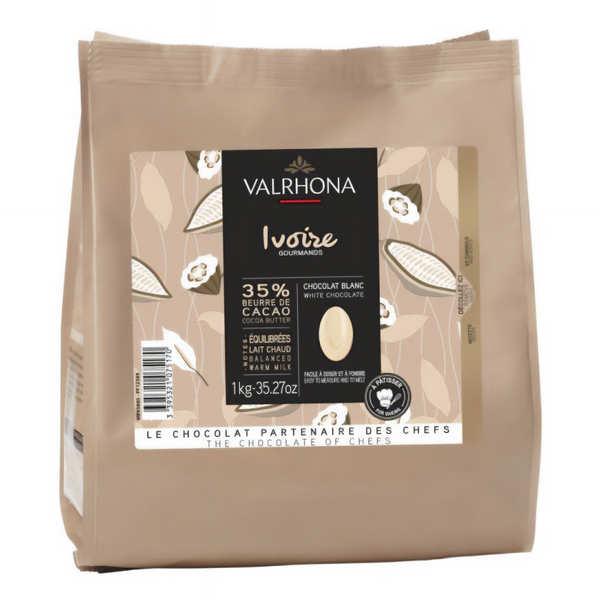 Chocolat blanc Valrhona fèves - Création gourmande Ivoire 35%
