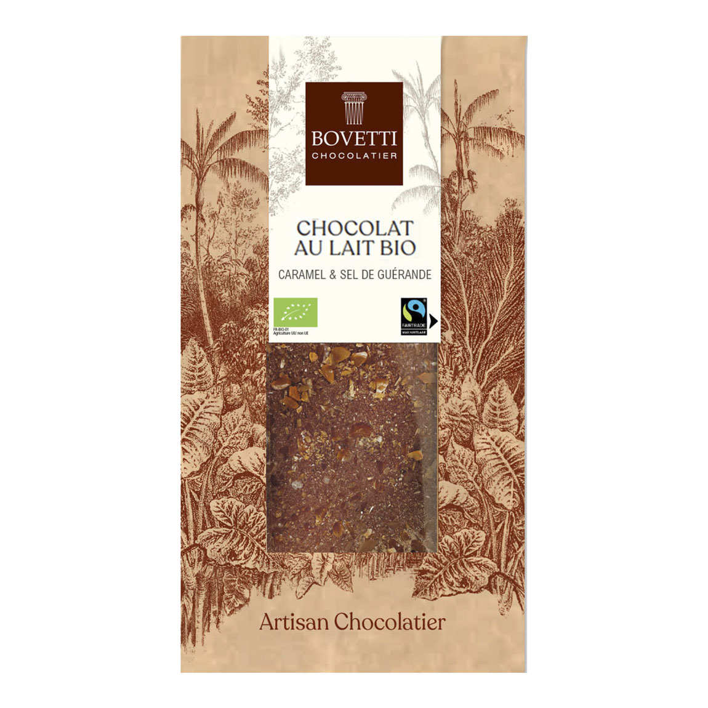 Organic milk chocolate with salted caramel