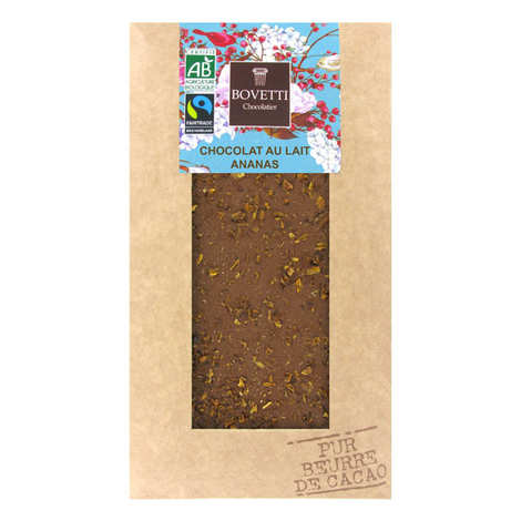 Bovetti chocolats - Tablette chocolat au lait Bio ananas