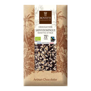 Bovetti chocolats - Tablette chocolat noir Bio noisette