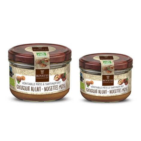 Bovetti chocolats - Véritable pâte à tartiner bio noisette chocolat au lait sans huile de palme