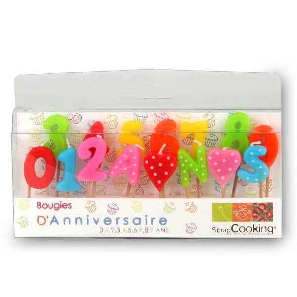 Bougies d'anniversaire - de 0 à 9