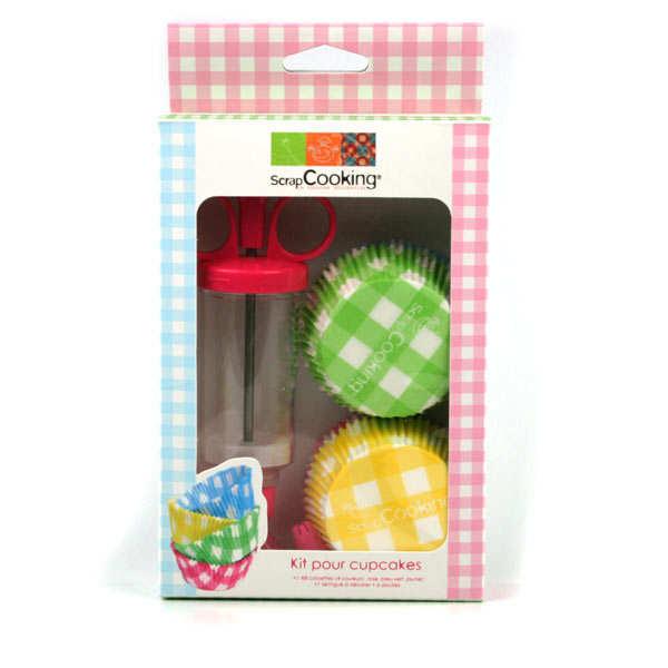 Kit pour cupcakes: caissettes + 1 seringue à décorer + 6 douilles