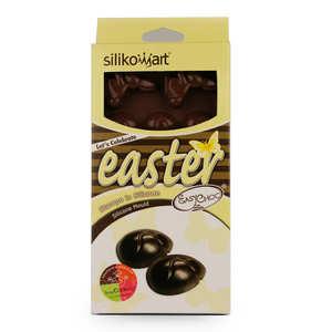 Silikomart - Moule silicone chocolats de Pâques EasyChoc - Oeufs, lapins, canards