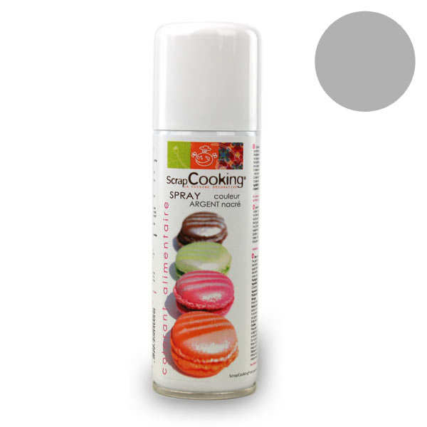 Spray alimentaire couleur argent