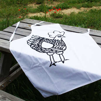 La Cocotte - Black-and-White Rooster Apron