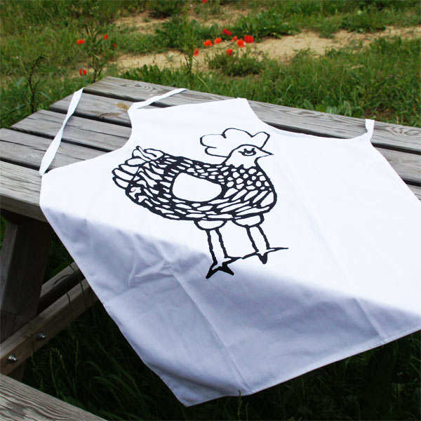 Black-and-White Rooster Apron