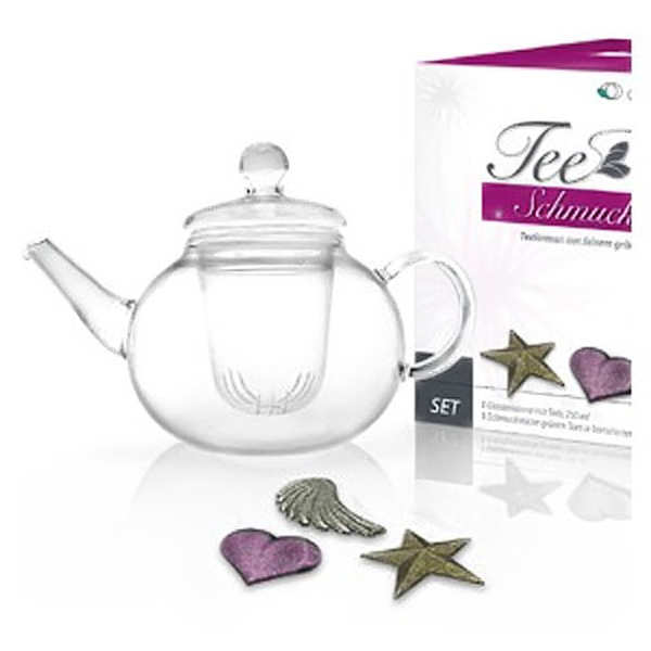Gift set of teapot and 3 shaped tea flowers (heart, star, wing)