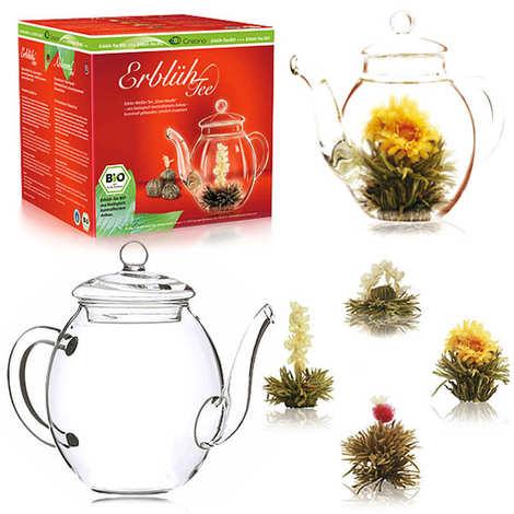 Creano - Gift set of teapot and 4 organic tea flowers